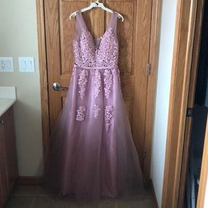 Pink embroidered Prom or formal dress